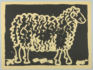Print of sheep on black background