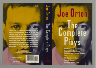 "Front cover depicts the author's name in red above the title, ""The Complete Plays"" in white superimposed on the face of a man with a gaze set on the viewer. Most of the man's face is in yellow and the right side of his collar pink leaving his left eye, cheek, and collar in grey. The spine includes the author's name in yellow, the title in grey, and the Grove Weidenfeld colophon in red. The back cover depicts printed text superimposed on the same image of a man's face."
