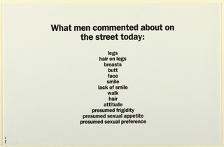 Text in black: What men commented about on/ the street today: legs / hair on legs / breasts / butt / face / smile / lack of smile / walk / hair / attitude / presumed frigidity / presumed sexual appetite / presumed sexual preference.
