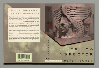 Book jacket for The Tax Inspector, by Peter Carey, published by Alfred A. Knopf. Front cover features stone carving with three busts of identical male angels in classic style, each with a triangular feathered wing. Image bordered by black and red v-shaped lines. Text below, in black: THE TAX / INSPECTOR / PETER CAREY. Red v-shaped line overlays illustrated image, black and red border at bottom.
