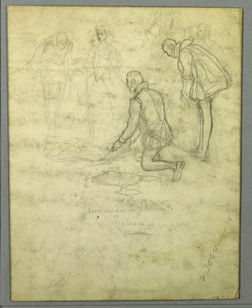 Drawing, Sketch of a man kneeling and another bowing