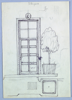 Drawing, Doorway with Potted Plant, Lilbergasse