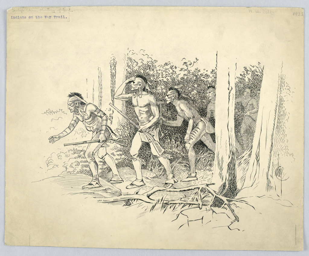 """Drawing, """"Indians on the War Trail"""", ca. 1909"""