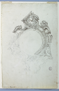 Vertical rectangle. Two angels are supporting the oval in the center, which is framed by mouldings, scrollwork and cherubim.