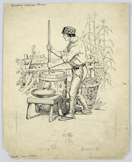 Drawing, Grinding Indian Corn
