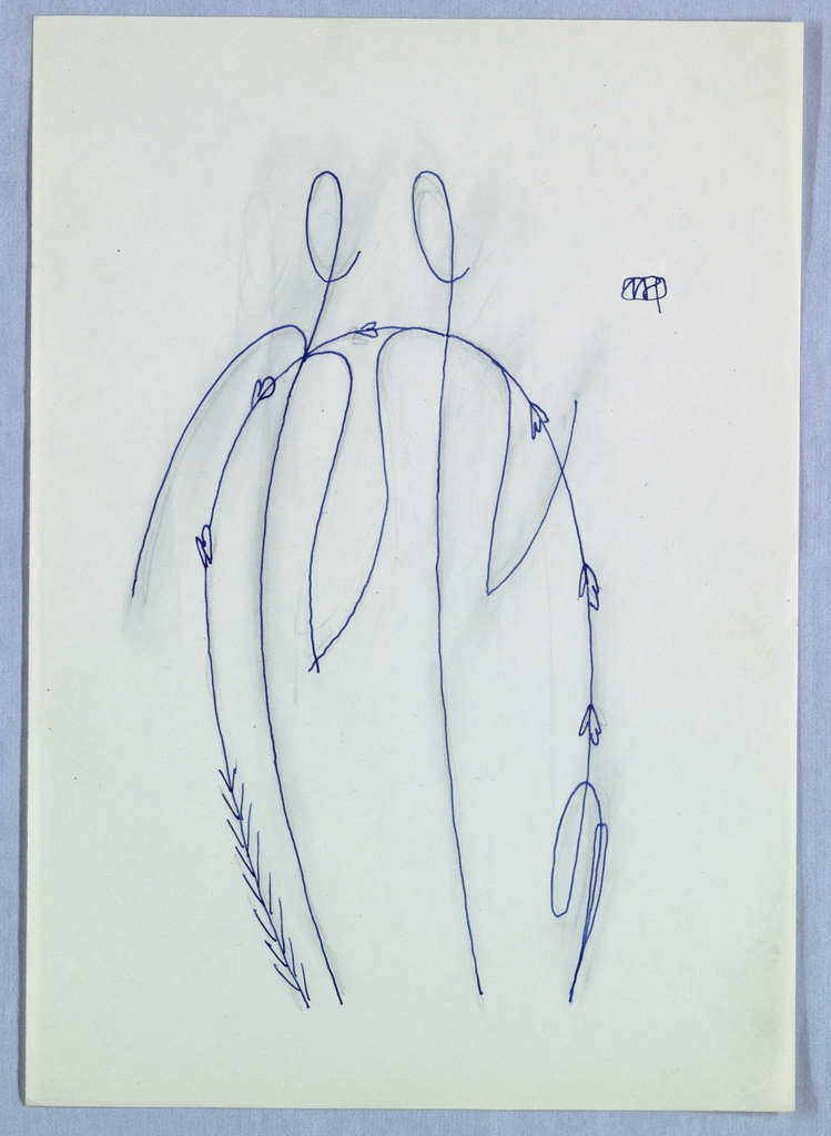 Ornamental line drawing of two figures.