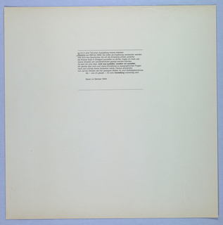 Credit/acknowledgement page. Eleven lines of text set in upper center of beige page. Two parallel lines above, one line below.