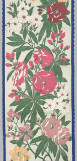 Polychrome floral pattern on white ground with a blue scalloped edge. Originally part of accessioned numbered object: 1942-23-1-a/h.
