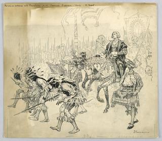 Drawing, Columbus' enterance into Barcelona