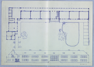 Elevation and plan of building with grounds.