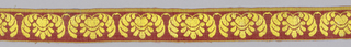 b/: Red wool functional weft and red silk warp form a loose twill - over this a repeat, in extra yellow silk seft, of palmette between two leaves - two of these narrow bands have been sewed as borders to red silk damask. [one of a pair]