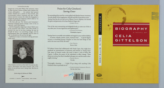 Orange cover with depicted marks, including a dark brown coffee mug stain at upper left and dark blue postage lines running off the upper right edge. Text in center, in white on red rectangle: BIOGRAPHY A NOVEL BY CELIA GITTELSON; on spine, in white on black: BIOGRAPHY; in black on white: CELIA GITTELSON.