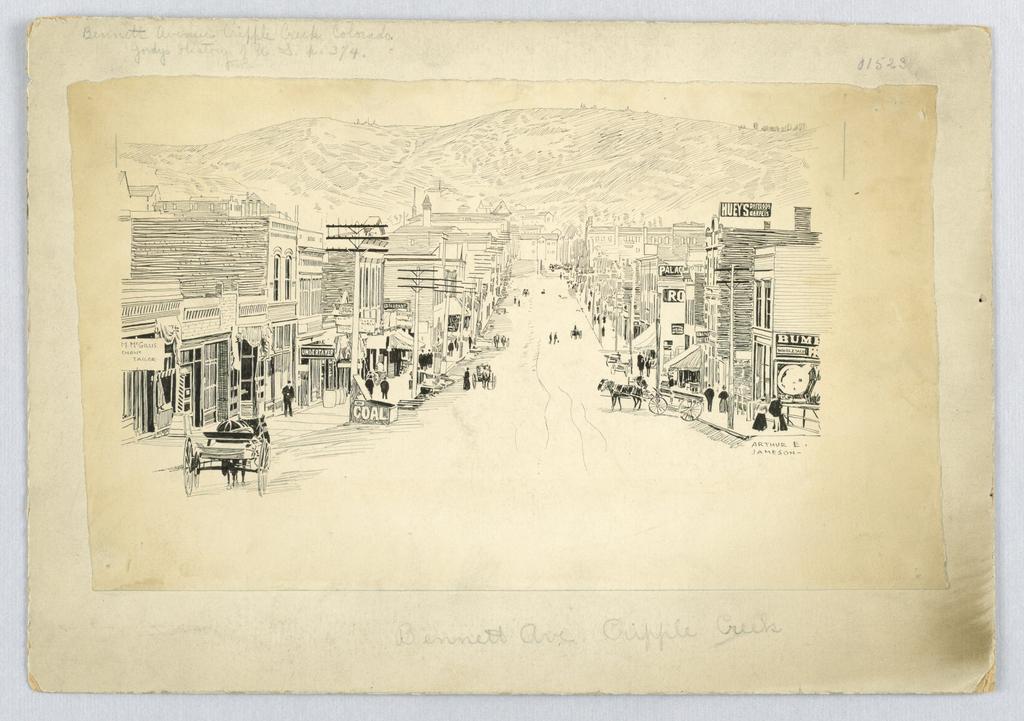 Drawing, Bennett Ave., Cripple Creek, Colorado, ca. 1904