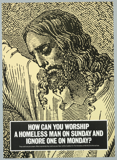 Etching of Christ One of four images from a wall-poster campaign by The Coalition for the Homeless; see 1993-53-81,-120