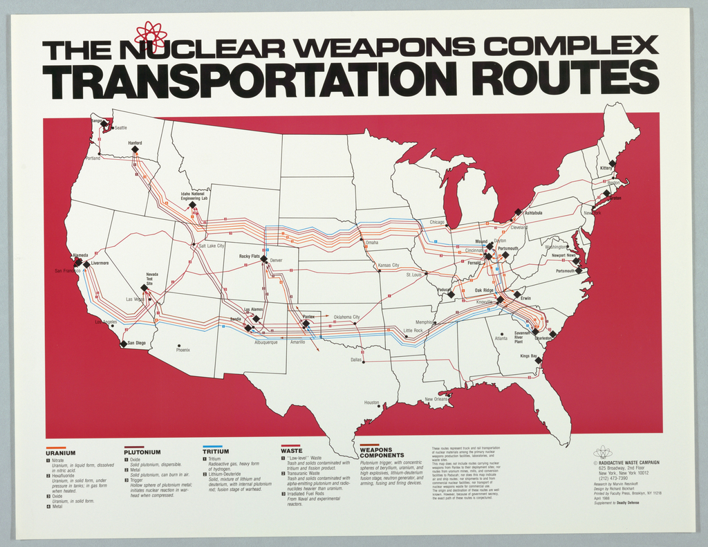Map of U.S.A. with colored routes on a red background of nulear materials For Radioactive Waste Campaign. Extensive text on nuclear weapons.
