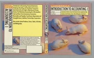 "Book jacket design for ""HarperCollins College Outline: Introduction to Accounting I,"" written by Joel Siegel and David Minars. Spanning across the front cover, back cover, and spine is a repeated photoillustration of a group of five white rabbits on a pink ground, each with long shadows cast to the left. At front cover, the book's title, author's name, and descriptive text superimposed over the illustration in white and yellow text boxes. Back cover, at left: text divided into various boxes and printed over illustration from front cover. Boxes in yellow and white contain book synopsis. Spine: title printed vertically over a detail of the front cover illustration with publisher's name and colophon (logo)."