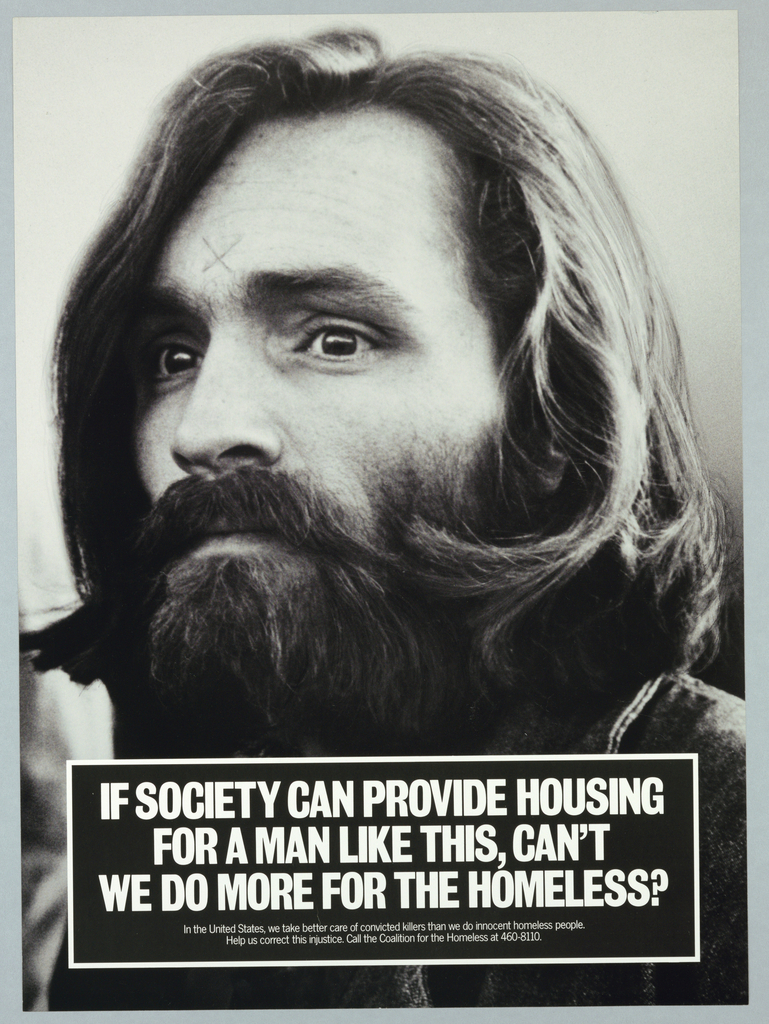 Photograph of Charles Manson For the Coalition for the Homeless, New York One of four images for a wall campaign