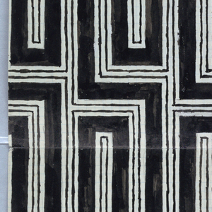 Allover black geometric pattern of framed rectangles.