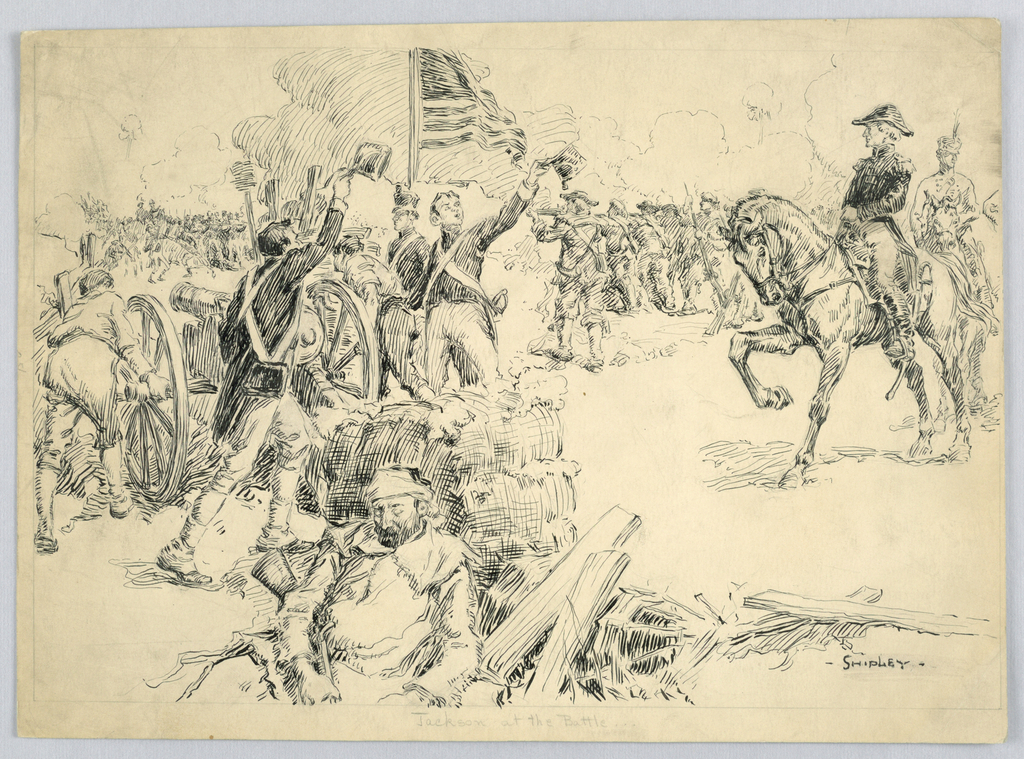 "Drawing, ""Jackson at the Battle of New Orleans"", ca. 1901"