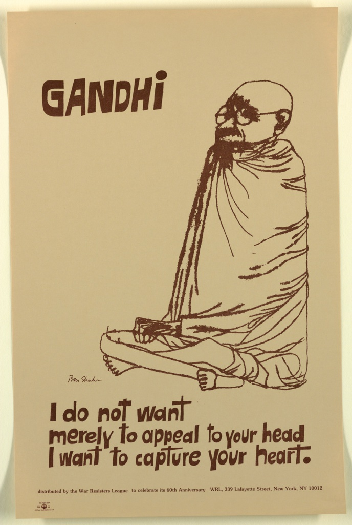 Drawing of Gandhi seated cross-legged with quote: I do not want / merely to appeal to your head / I want to capture your heart.
