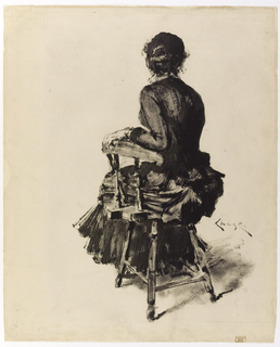 Back of a female figure, head turned slightly right, seated in wooden chair.