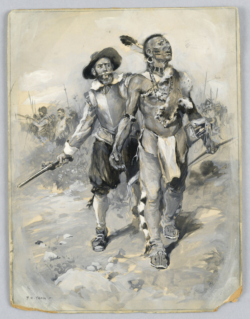 """Drawing, """"Smith's Determined Handling of the Indians"""""""