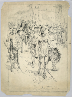 Drawing, The Triumphal Return of Columbus to Spain
