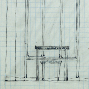 Wall elevation with window, door, table and stool.