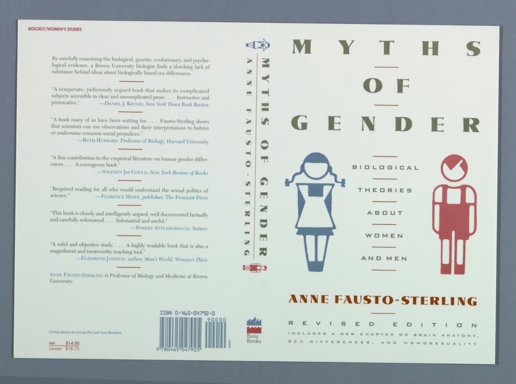 Book Cover, Myths of Gender