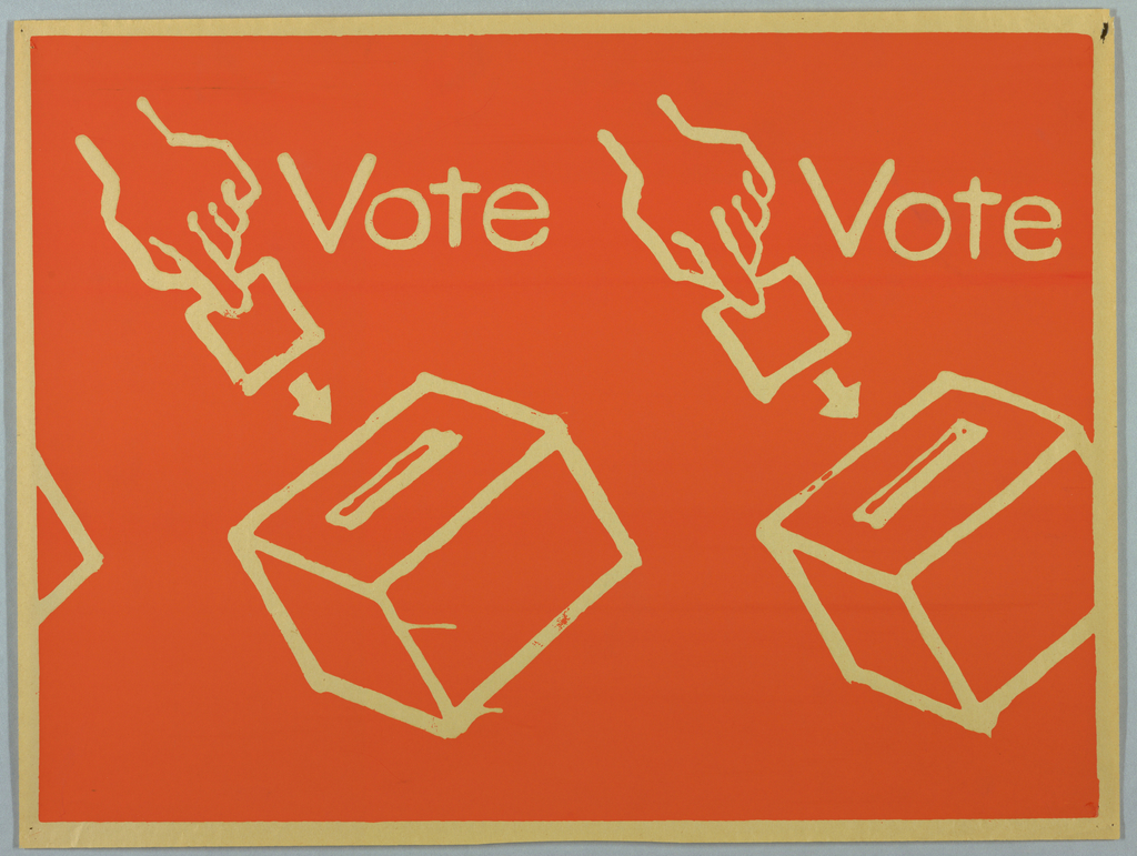 """Two hands inserting ballots into ballot boxes are shown. The word """"Vote"""" appears at the right of each hand. The words and images appear in cream against an orange background."""