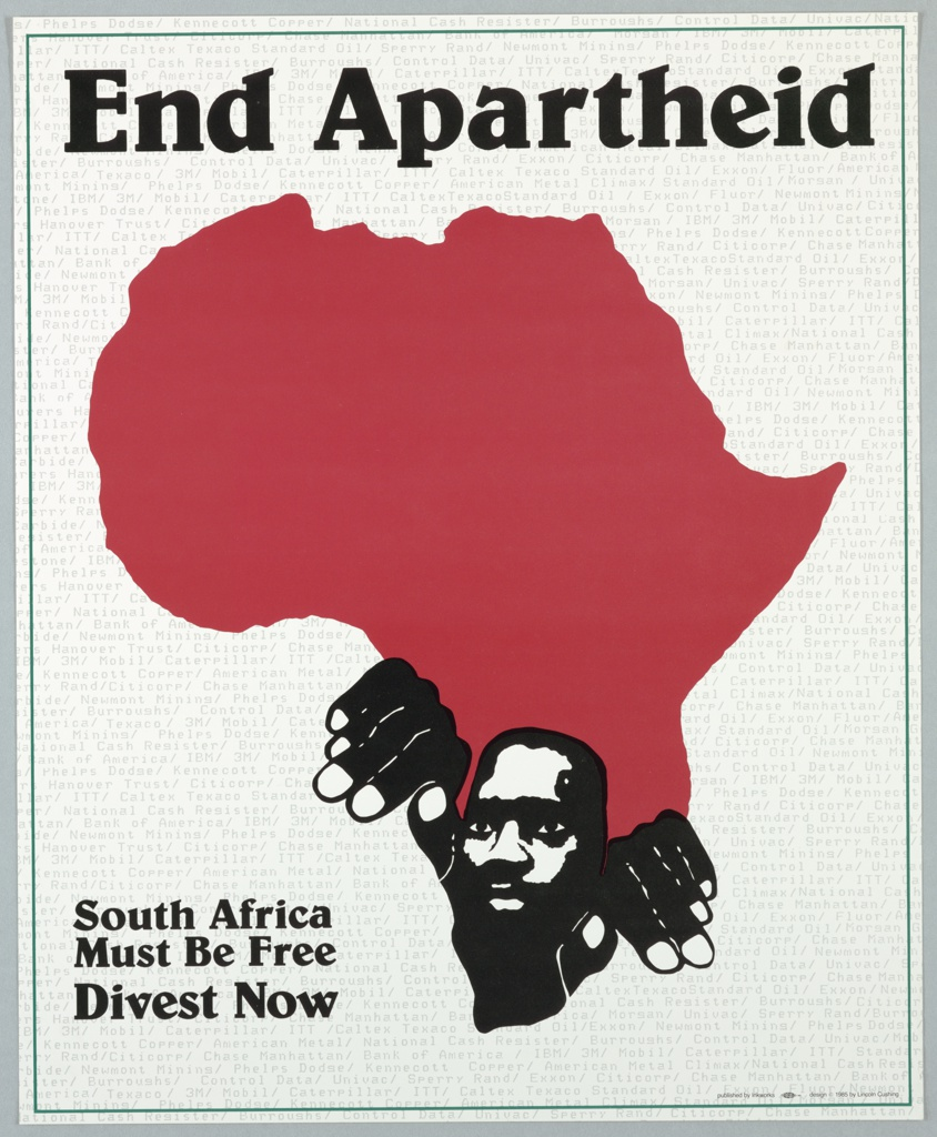 On white ground, the background printed with all-over gray text listing the names of corporations and companies with South African connections and investments. At center, red map of the continent of Africa. At the southern point, figure of an African man, his hands overlapping the border of the continent as though pulling himself out of it. Printed text above and at lower left. Green framing line.