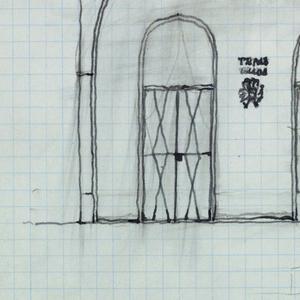 Facade elevation with door and window.