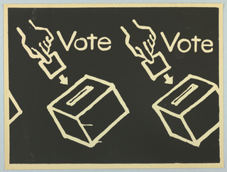 "Two hands inserting ballots into ballot boxes are shown. The word ""Vote"" appears at the right of each hand. The words and images appear in cream against a black background."
