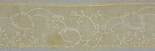 Linen, pierced by holes of several sizes and painted in white paint, in pattern of curving band of floral sprays similar to that found in lace; sizing gives stiffness.