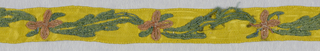 Design of alternating pink flower and green leaf worked in chenille on a yellow ground.