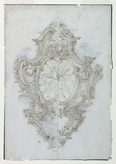 A wall-fixture of rocaille design, ornamented with garlands and seraphs. A panel in the center shows the dove of the Holy Spirit in a sunburst. Below, a smaller panel, probably intended to contain a water receptacle.