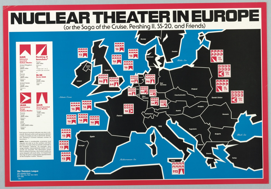 Map of Europe with locations of nuclear weapons for the War Resisters League.