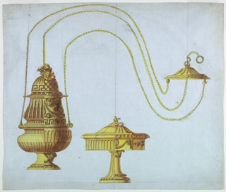 Horizontal rectangle. At left is the censer, whose upper end is at right, the chains curved; the boat is in the center below. Alternative suggestions at right provide for cherubims supporting festoons at the foot of the censer, for cherubim in clouds on top of it, for a shaft in the form of a column, and for lion masks at the body of the boat; the main decorations at left consist of flutes; on top of the censer is a basket with flowers.