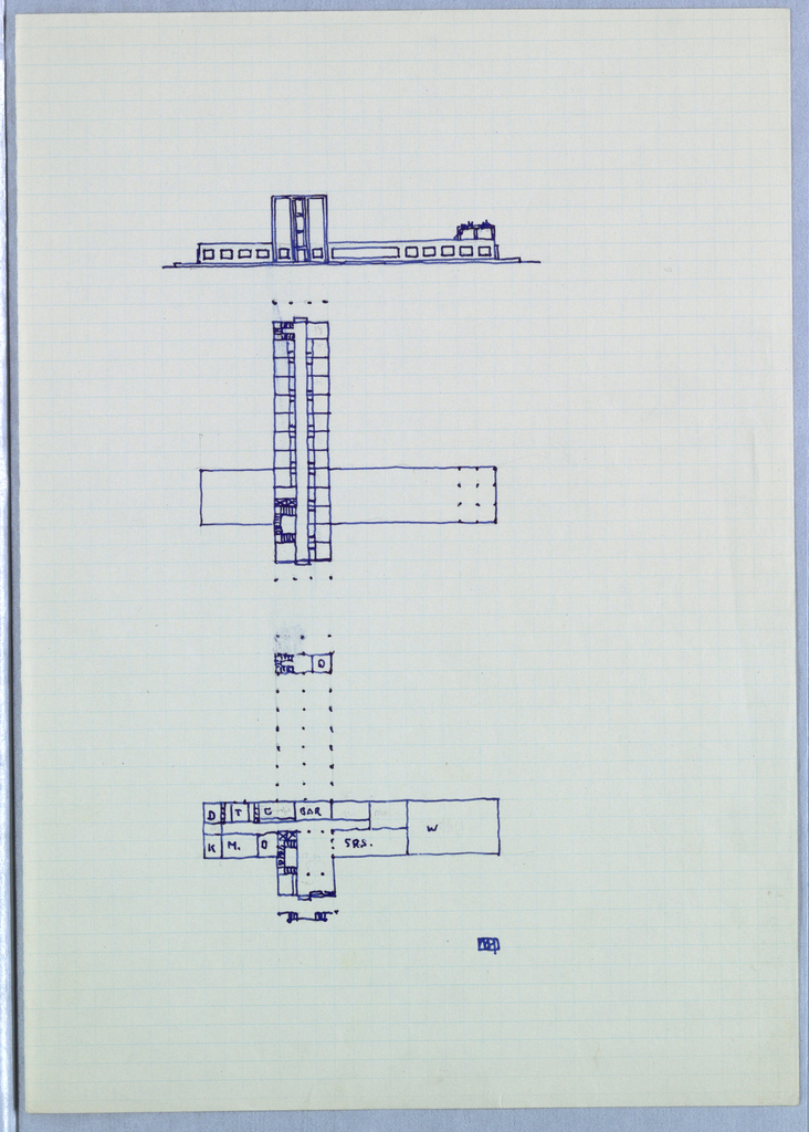 Facade elevation with two interior floor plans.