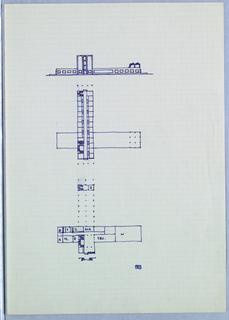 Facade elevation with two interior floor plans.
