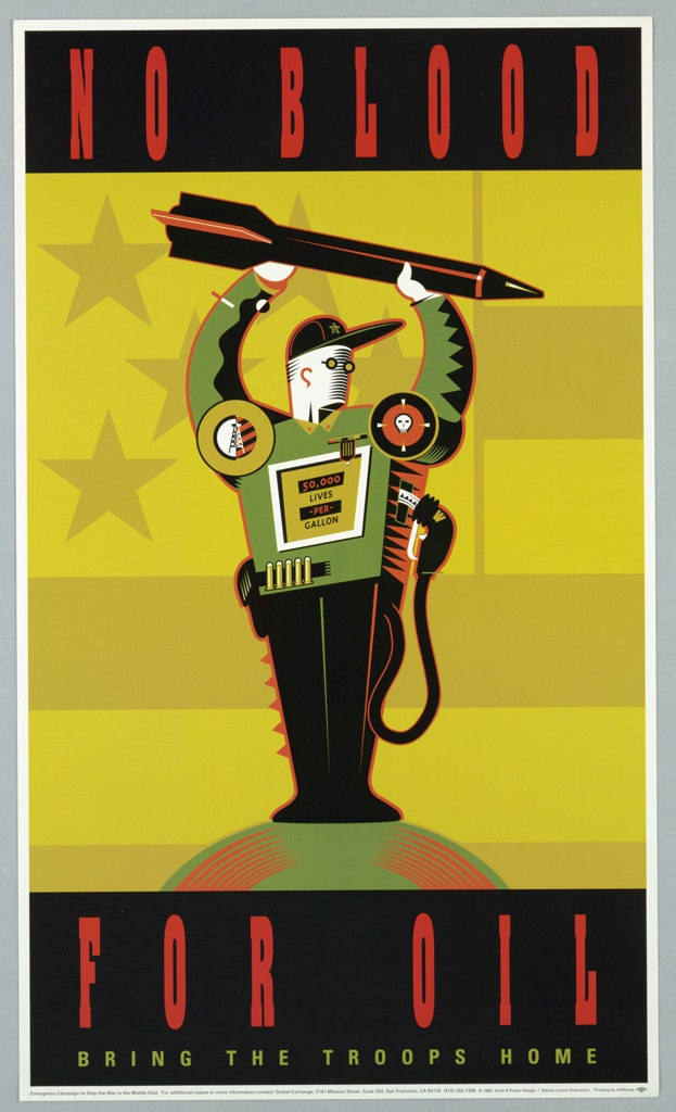 Print of gas tank/man with weapons For Emergency Campaign to Stop the War in the Middle East.