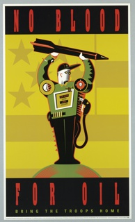 Print of gas tank/man with weapons For Emergency Campaign to Stop the War in the Middle East