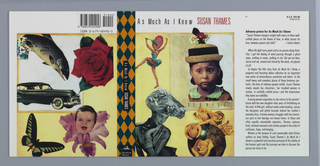 Cover design depicts a cutout collage of images including a dancer with a blue dress and pink parasol; a young girl wearing a hat with flowers; a globe with yellow roses; and a black and white photograph of a woman wearing a hat with flowers. Text above, in black: As Much As I Know; in red: SUSAN THAMES; under the young girl at center right, in black: STORIES. Spine features a diamond checkered pattern in blue and orange. Center text in white on black: As Much As I Know SUSAN THAMES.