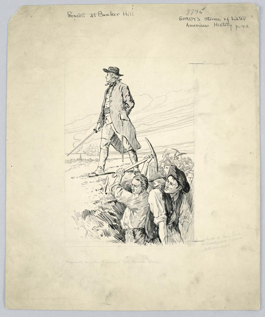 """Drawing, """"Prescott at Bunker Hill"""", ca. 1915"""
