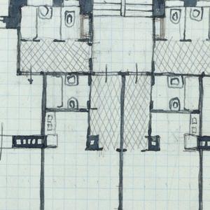 Architectural plan. Inscribed in red pencil, upper right: Malfattigasse 31.