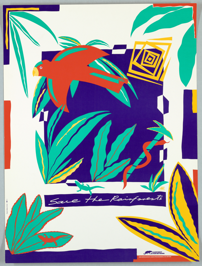 Description: Print of animals and plants For the Rainforest Network