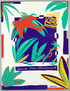 Print of animals and plants For the Rainforest Network