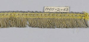 Gold fringe with a patterned heading and a skirt of twisted loops.