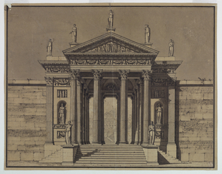 Horizontal format. Steps are leading to an entrance pavilion giving access to a palace compound. Left and right of the pavilion is a wall made of bricks and stones. The pavilion is richly decorated with statues, reliefs, ornaments, and with pillars and columns in Corinthian style. Seen through the intercolumniation an obliquely placed garden terrace and part of the facade. The background is colored gray. Framing line and strip.