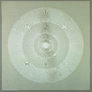 Four graduating concentric circles of radial lines like spokes of a wheel; white printed on clear ground.